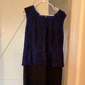 Alfani size 16 black & blue lace peplum dress, NS